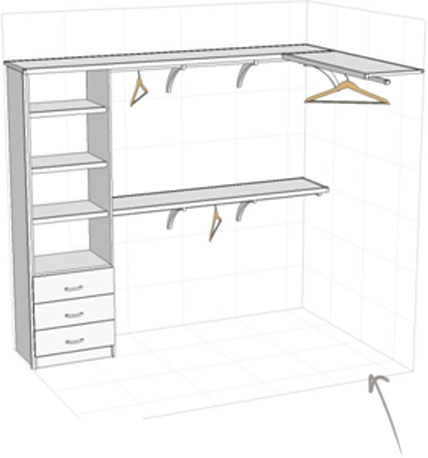 Walk-in wardrobe (L shape as per drawing) to fit a space 2400L x 1600w = approx. $950 including installation and GST.